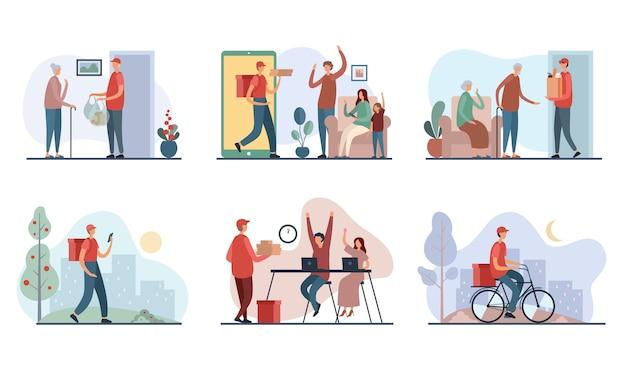 Serie di illustrazioni con clienti e ragazzo delle consegne