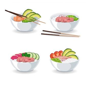Serie di illustrazioni con diversi tipi di poke bowl