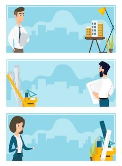 Serie di illustrazioni di architetti al lavoro