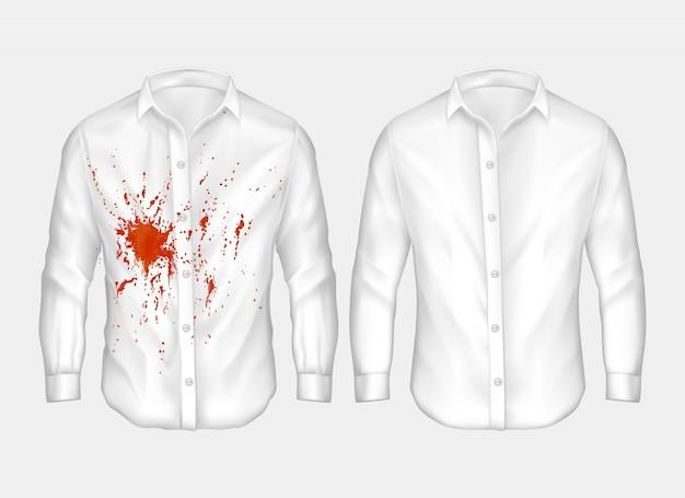 Serie di illustrazioni di camicia bianca maschile con macchia rossa.