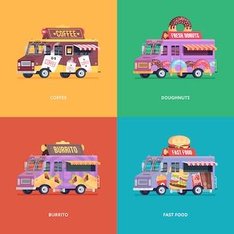 Serie di illustrazioni di camion di cibo. composizioni di concept moderno per caffè, ciambelle, burrito e carro per consegne fast food.