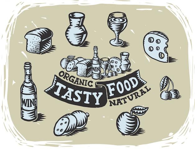 Serie di illustrazioni di cibo