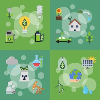 Serie di illustrazioni di concetto con icone piane di ecologia