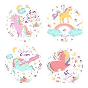 Serie di illustrazioni di fantasia con unicorni carini.