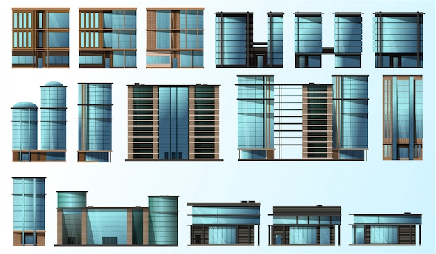 Serie di illustrazioni di moderne case di vetro