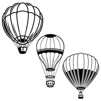Serie di illustrazioni di mongolfiere. elemento per logo, etichetta, emblema, segno. immagine