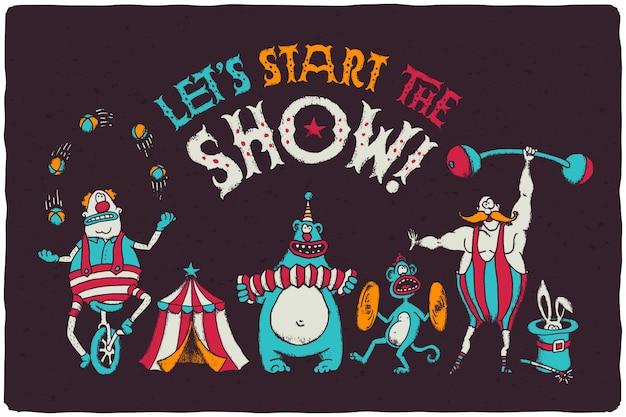 Serie di illustrazioni di personaggi del circo