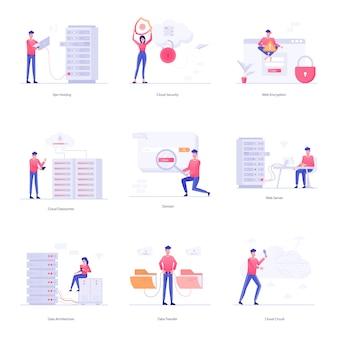 Serie di illustrazioni di personaggi web hosting