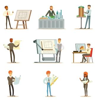 Serie di illustrazioni di professione dell'architetto con gli architetti che progettano i progetti e modelli per la costruzione di edifici