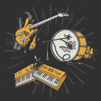 Serie di illustrazioni di strumenti musicali rotti