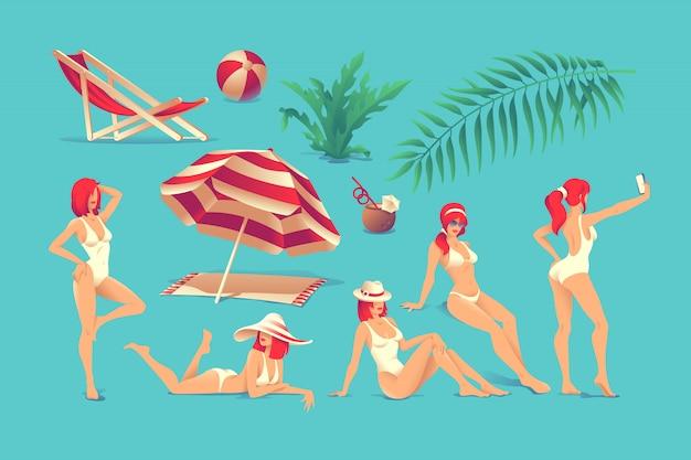 Serie di illustrazioni estive. in posa le donne in costume da bagno
