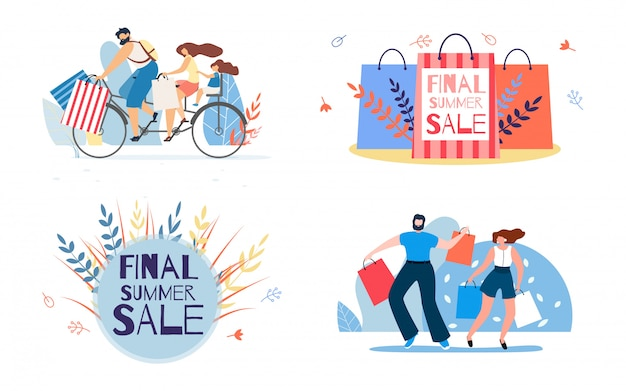 Serie di illustrazioni per la vendita dell'estate finale lettering e shopping di personaggi
