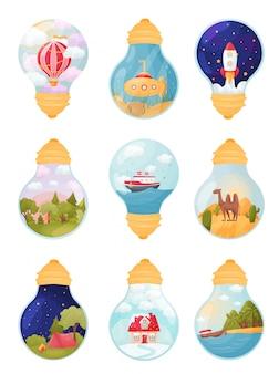 Serie di immagini all'interno della lampadina. illustrazione.