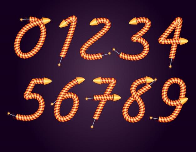Serie di numeri. un insieme di numeri da 0 a 9 per la creazione di banner festivi