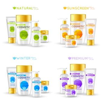 Serie di packaging cosmetico
