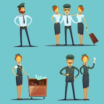Serie di personaggi dei cartoni animati pilota e hostess