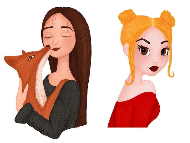 Serie di ritratti di cartoni animati di ragazze in tecnica acquerello e matita