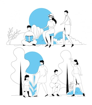 Serie di scene di giovani che svolgono attività