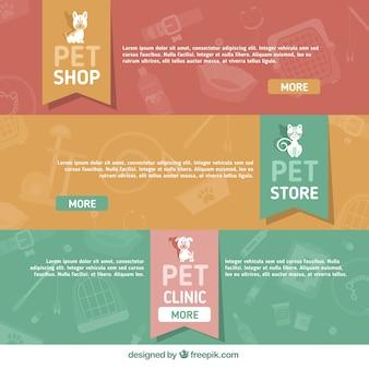 Serie di striscioni con accessori per animali