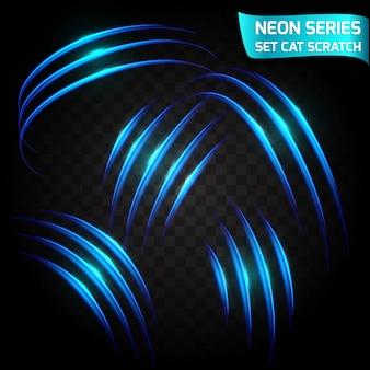 Serie neon serie di graffi di gatto. effetto luminoso brillante. crepa astratta, velocità di imitazione.