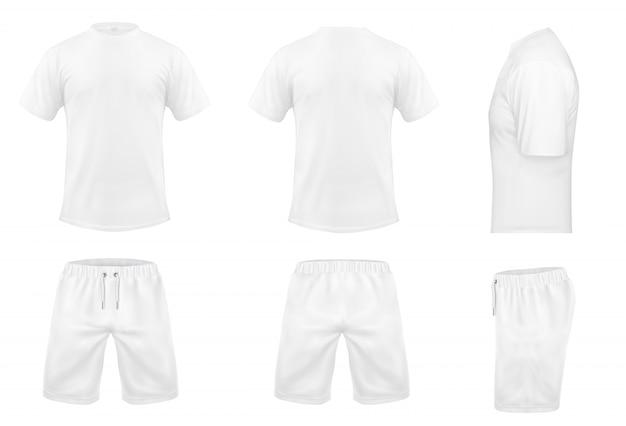 Serie realistica di t-shirt bianche con maniche corte e pantaloncini, abbigliamento sportivo, divisa sportiva