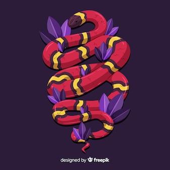 Serpente a strisce disegnato a mano con sfondo di foglie