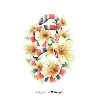 Serpente acquerello con sfondo di fiori
