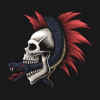 Serpente avvolto intorno all'illustrazione del cranio