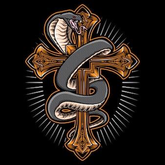 Serpente cobra con croce d'oro