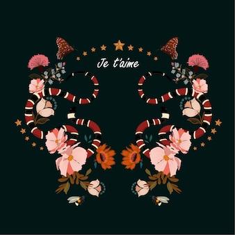 Serpente con fiori disegno vettoriale nella formulazione je t'aime