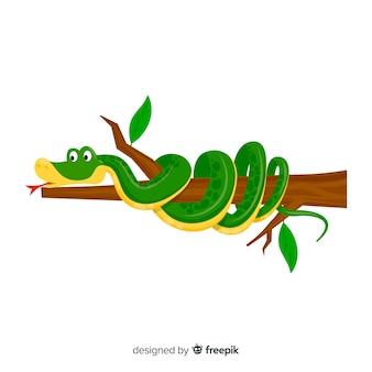 Serpente di cartone animato ferito su uno sfondo di ramo