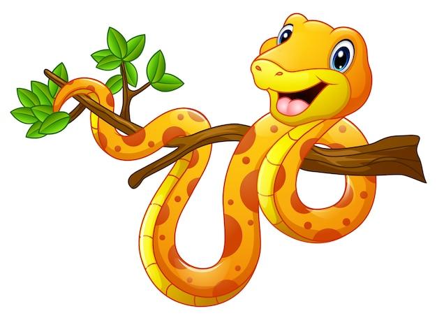 Serpente di cartone animato sul ramo
