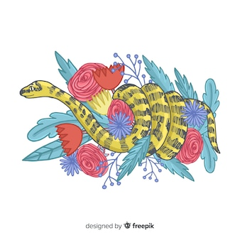 Serpente disegnato a mano con fiori