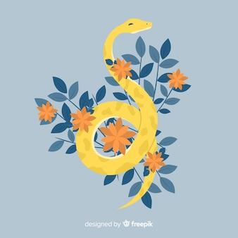 Serpente disegnato a mano con illustrazione di fiori