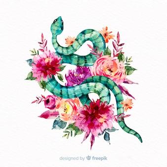 Serpente disegnato a mano con sfondo di fiori colorati