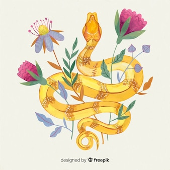 Serpente disegnato a mano con sfondo di fiori