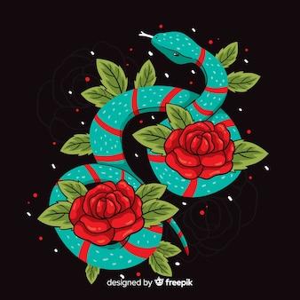 Serpente disegnato a mano con sfondo di rose