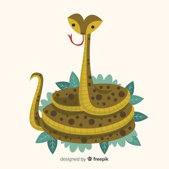 Serpente disegnato a mano su sfondo di foglie