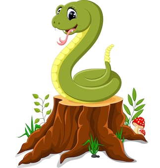 Serpente divertente cartone animato sul ceppo di albero