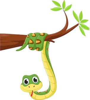 Serpente divertente su un ramo di un albero