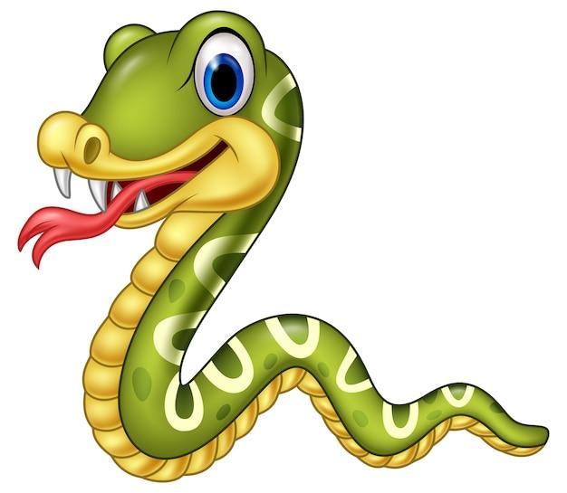 Serpente felice del fumetto isolato su priorità bassa bianca