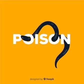 Serpente nero con sfondo di parola
