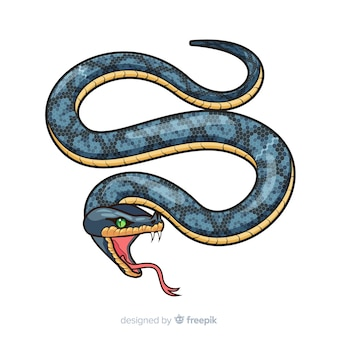 Serpente realistico disegnato a mano che sibila fondo