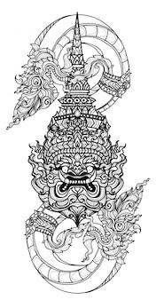 Serpente tailandese di arte del tatuaggio e schizzo gigante del disegno della mano della letteratura