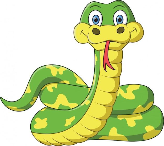 Serpente verde divertente e amichevole