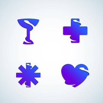 Serpenti di spazio negativo di simboli di medicina. segni astratti, emblemi, icone o logo template set. gradiente moderno.
