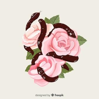 Serpenti disegnati a mano con sfondo di rose
