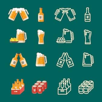 Serve birra moderna piatto e linea icone vettoriali