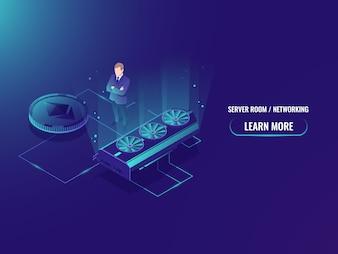 Server di mining farm isometrico, estrarre minatore di valuta crittografico, sala server