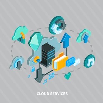 Servizi della nuvola e concetto isometrico di archiviazione di file sicura su 3d grigio